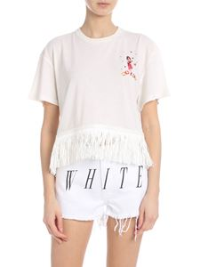Alanui - Fringed T-shirt in ivory color