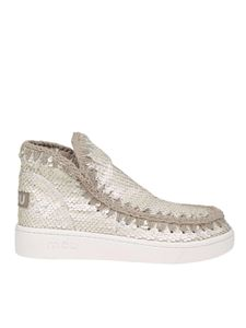 Mou - New Low-Cut Summer Eskimo in paillettes bianche
