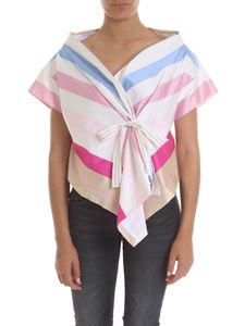 Manila Grace - Asymmetrical top with multicolor stripes