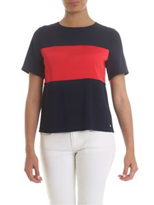 Tommy Hilfiger - T-shirt in blue with red band