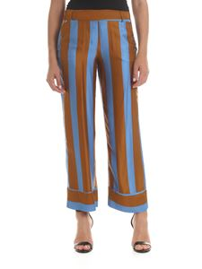 Manila Grace - Striped trousers in brown and light blue