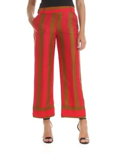 Manila Grace - Trousers in red and brown stripes