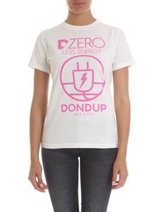 Dondup - D ZERO T-shirt in white with pink print