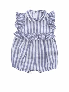 Il Gufo - Blue and white striped rompersuit with ruffles