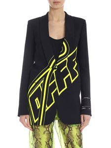 Off-White - Smocking jacket in black with neon print
