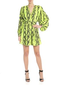 Off-White - Printed short dress in neon yellow