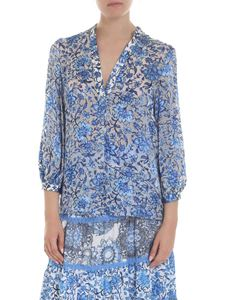 Alice + Olivia - Sheila blouse in blue and cream