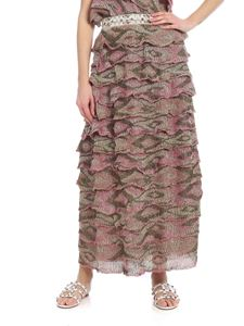 Missoni - Knitted skirt in pink and green