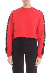 Gaelle Paris - Boxy red sweatshirt with black lace bands