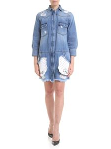 Gaelle Paris - Denim dress with broderie anglaise details