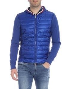 Moncler - Cardigan in blue with down insert