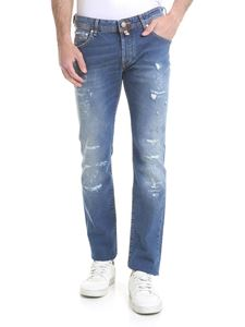 Jacob Cohën - Destroyed effect jeans in blue denim