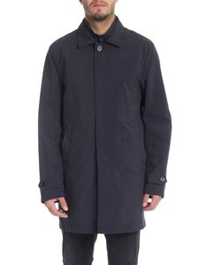 Fay - Blue overcoat in technical fabric