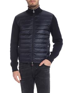 Moncler - Blue cardigan with down front