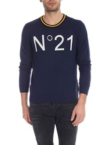 N° 21 - Blue crew-neck pullover with white N21 logo