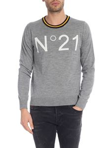 N° 21 - Grey crew-neck pullover with white N21 logo