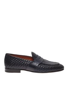 Santoni - Woven leather loafers in blue
