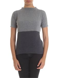Fabiana Filippi - T-shirt in grey with knitted insert