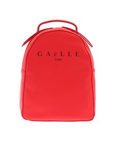Gaelle Paris - Eco-leather backpack in red with logo print
