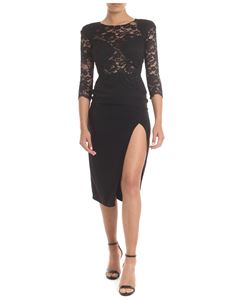 Elisabetta Franchi - Crepe and lace dress in black with vent