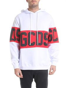 GCDS - Hoodie in white with red logo band