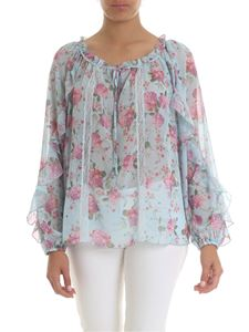 KI6? Who are you? - Semitransparent blouse in light blue with floral print