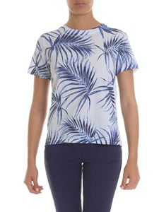 Sportmax - T-shirt with leaf print in light blue