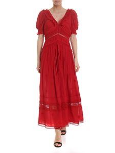 Self-Portrait - Long dress in red with pleated ruffles