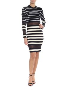 Off-White - Striped long sleeve dress in black and white
