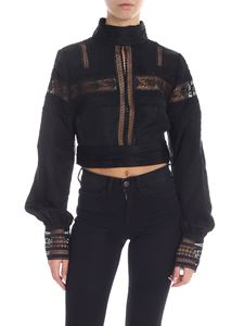 Self-Portrait - Top in black with tone-on-tone lace inserts