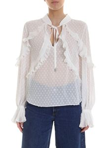 Self-Portrait - Plumetis blouse in white with rouches