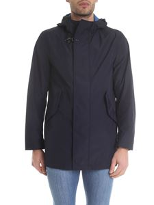 Fay - Hooded overcoat in blue