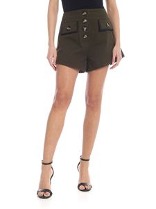 Self-Portrait - Shorts in canvas verde militare