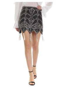 Attico - Skirt in black with beaded decoration