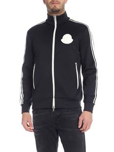 Moncler - Black sweatshirt with white zips