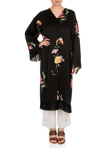 Etro - Black dust coat with floral pattern