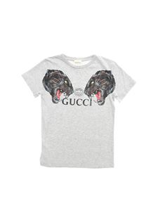 Gucci - T-shirt in grey with panther print