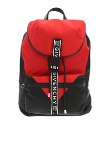 Givenchy - Black and red backpack with logo buckle