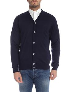 Eleventy - Cardigan blu scuro con bottoni in madreperla