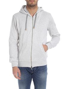 Eleventy - Sweatshirt with hood in melange light gray