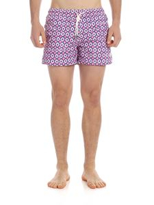 Luigi Borrelli - Swim shorts in blue with pink print