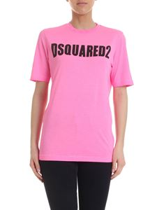 Dsquared2 - T-shirt rosa fluo con stampa logo