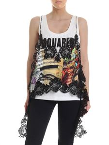 Dsquared2 - White top with black lace inserts
