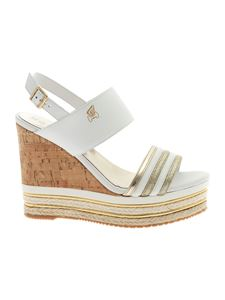 Hogan - H442 sandals in white with wedge