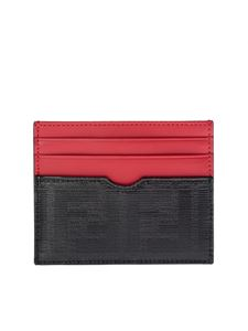 Fendi - FF card holder in black and red