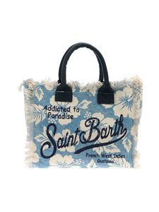 MC2 Saint Barth - Light blue Vanity bag with Ibiscus print