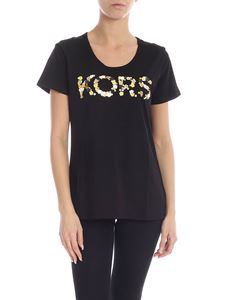 Michael Kors - Black T-shirt with floral logo embroidery