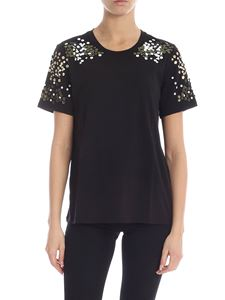 Michael Kors - Black T-shirt with floral decorations