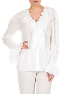 Etro - White striped shirt with ruffles
