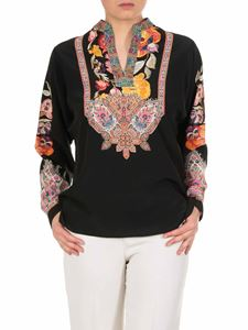 Etro - Black blouse with floral print